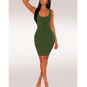 Army Green Ruched Backless Bodycon Dress